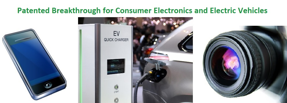 Fast Battery Charge in Minutes for Cell Phones, Consumer Electronics, Electric Vehicles